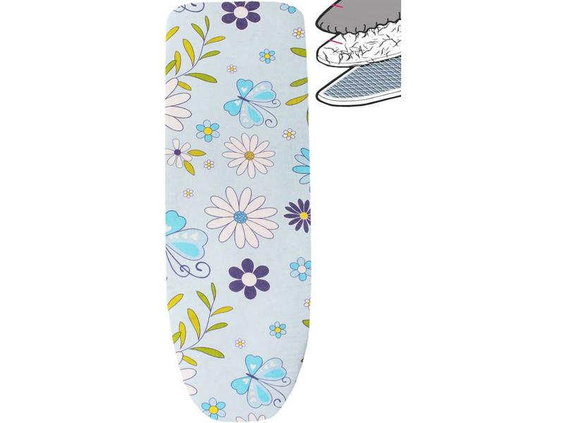 Strijkplankhoes 2 laags met elastiek A -  L. Blauw / witte bloem