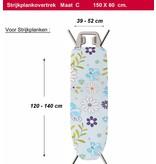 Strijkplankhoes 2 laags met elastiek  C -  L. Blauw / witte bloem