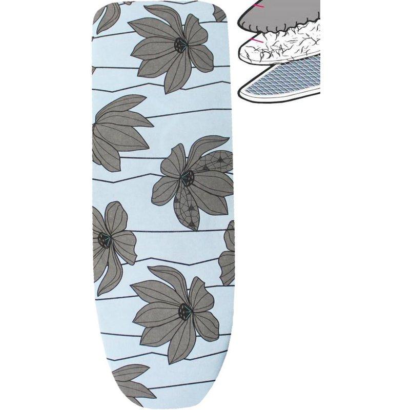 Strijkplankhoes 2 laags met elastiek C -  L. Blauw / grijze  bloem