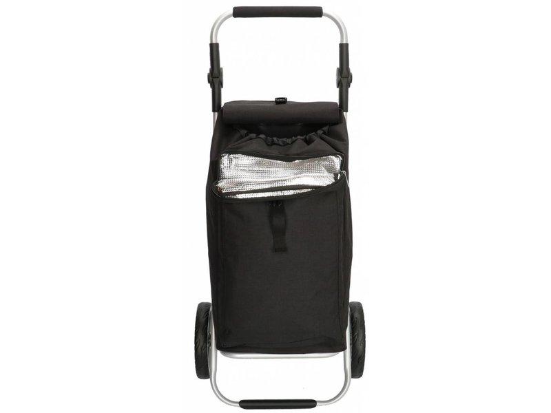 Boodschappentrolley met Verstelbaar handvat en koelvak  - Zwart