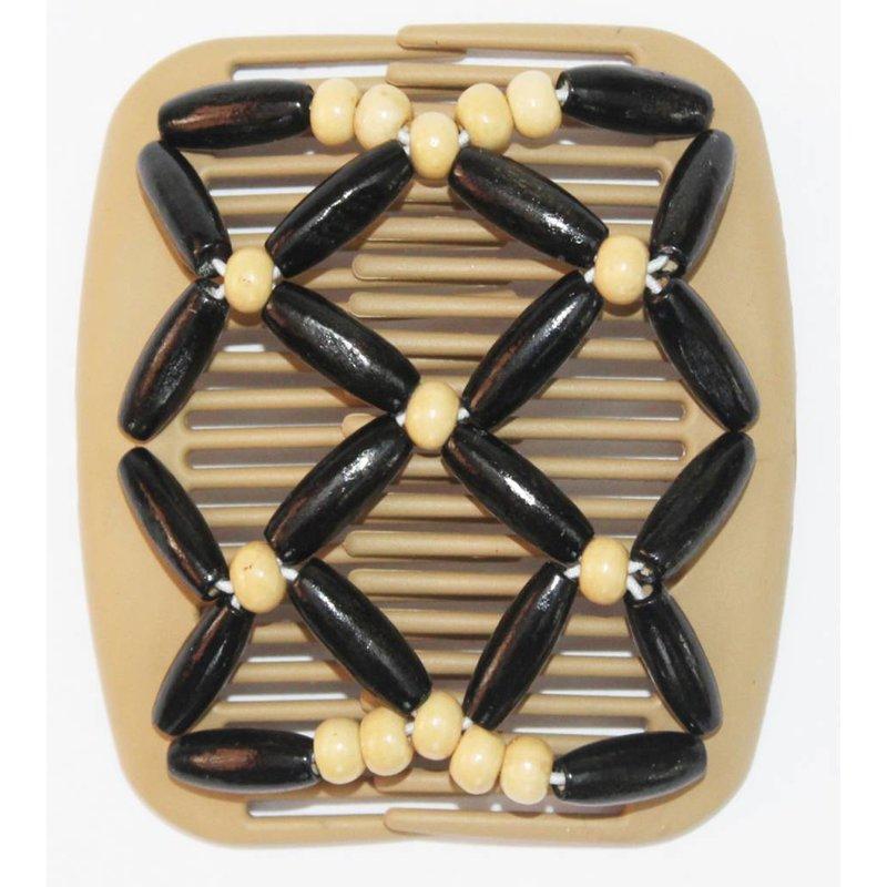 African Butterfly Hair Clips   -  Beige/Zwart
