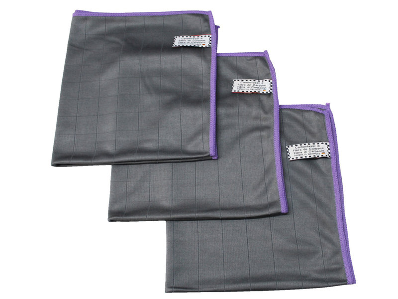 Microvezeldoeken carbon fiber Grijs/Mauve - 3  stuks