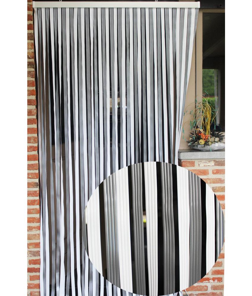"""Vliegengordijn PVC """"Lux Band"""" Grijs - Wit  100 x 220 cm"""