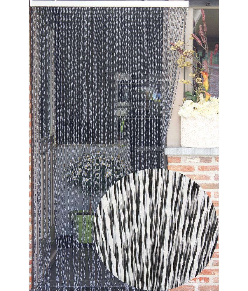 """Vliegengordijn PVC """"String""""  Grijs - Zwart 100 x 220 cm"""
