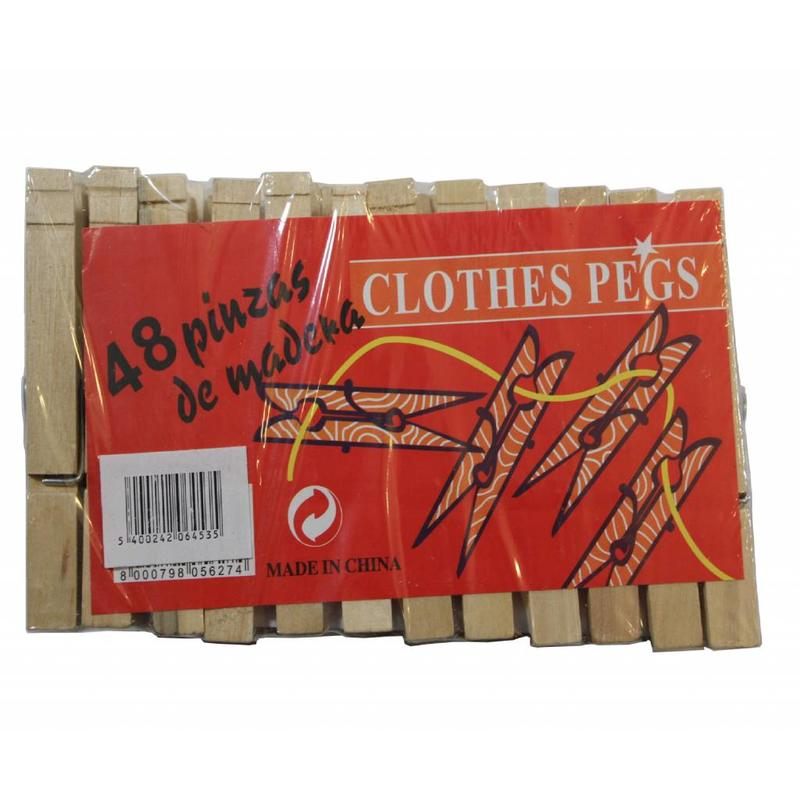 Wasknijpers / Wasspelden hout 48 stuks