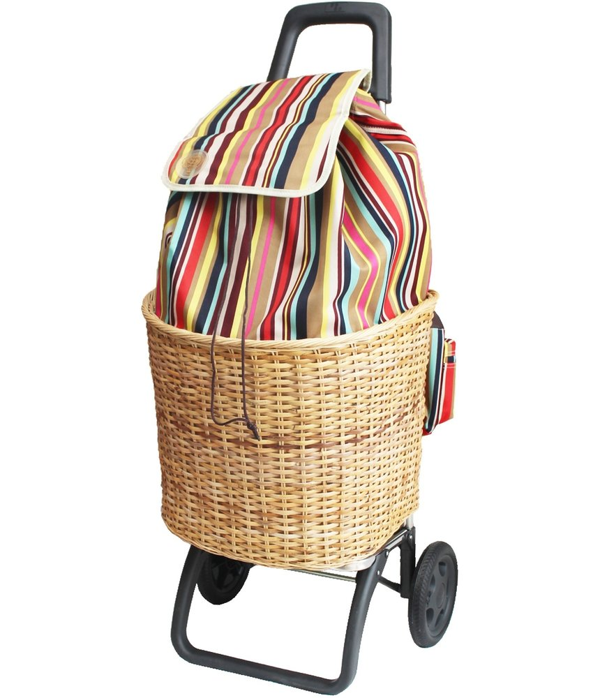 """Boodschappentrolley  multicolor met rieten mand  """"PROVENCE"""""""