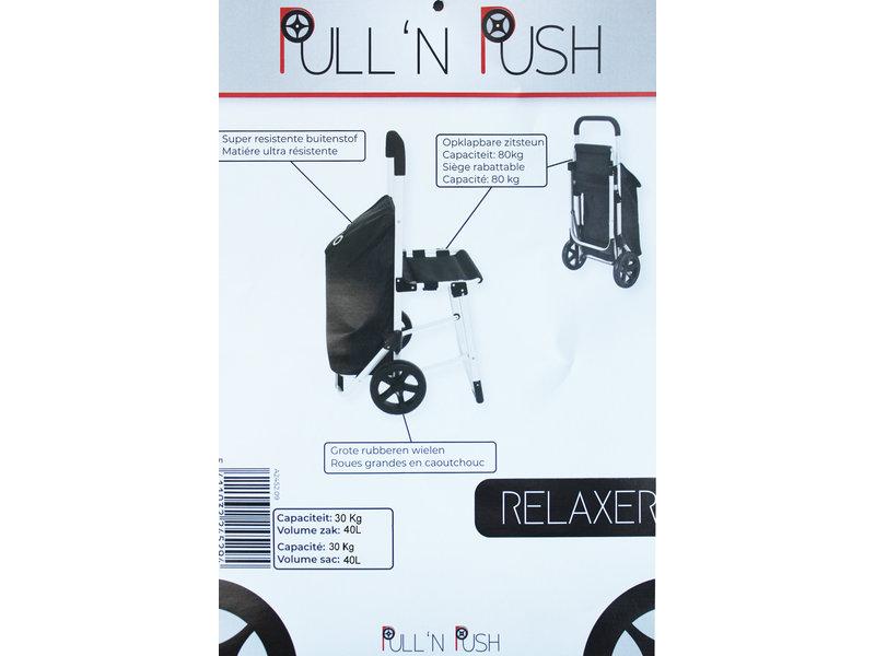"""Boodschappentrolley  met zitje - Zwart  """"Pull'N & Push Relaxer"""""""