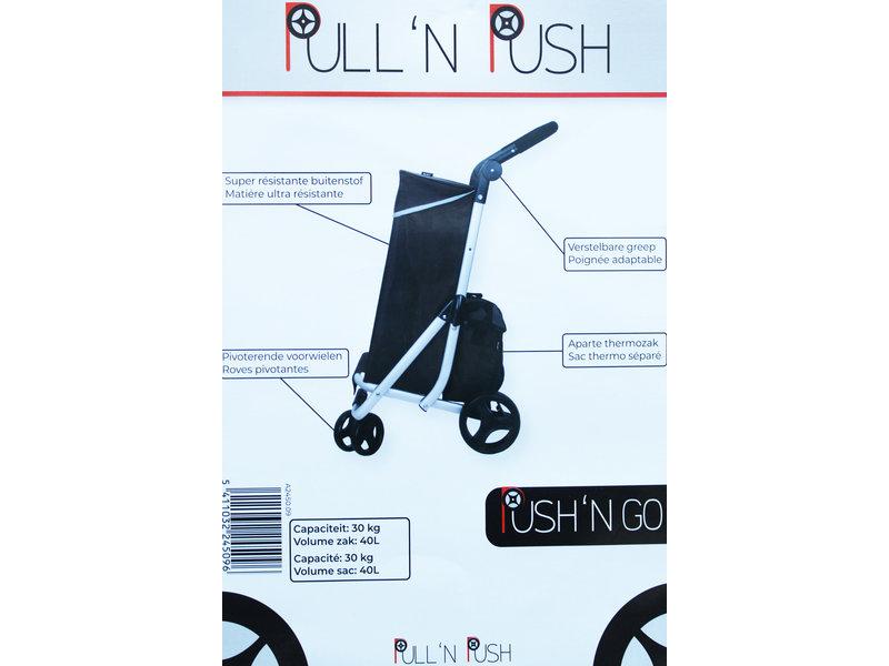 """Boodschappentrolley Roterend voorwiel -  Zwart  """"PUSH'N  GO"""""""