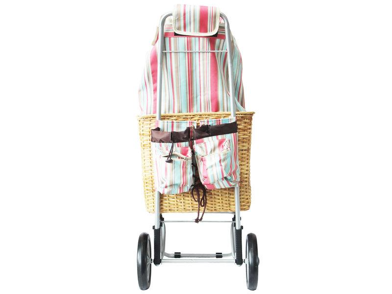 "Boodschappentrolley pink stripe met rieten mand ""PROVENCE"""