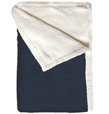 Bear Dream Sherpa Fleece deken  130 x 170 cm  -  Navy  Blauw
