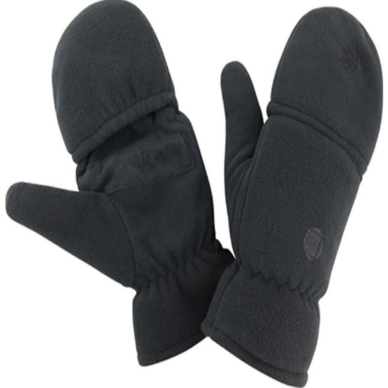 Fleece handschoenen zonder vingers met flap - Zwart