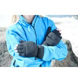 Fleece handschoenen zonder vingers met flap - Grijs