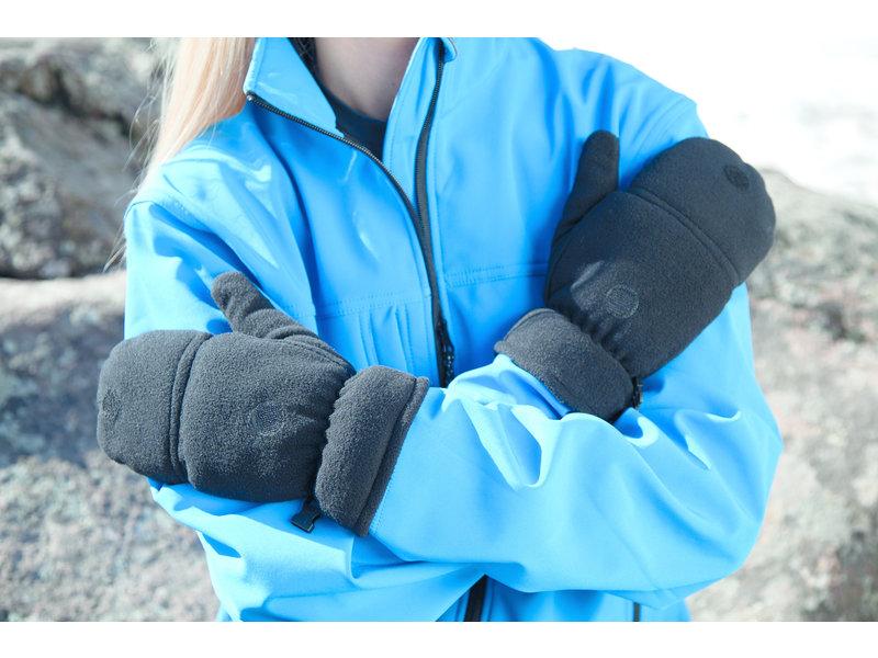 Fleece handschoenen zonder vingers met flap - Blauw