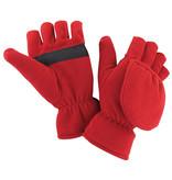 Fleece handschoenen zonder vingers met flap - Rood