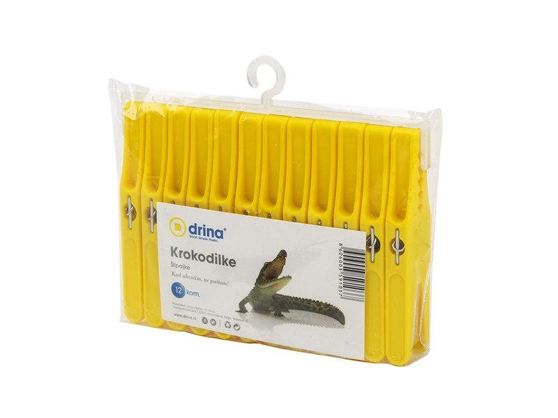 Wasspelden / Wasknijpers PVC Krokodilke - 12 stuks