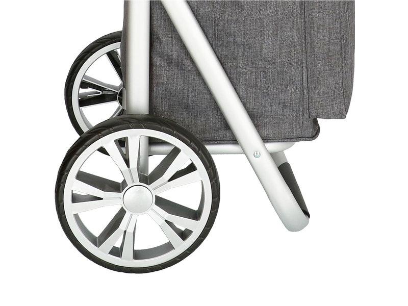 Boodschappentrolley met Verstelbaar handvat en koelvak - Grijs