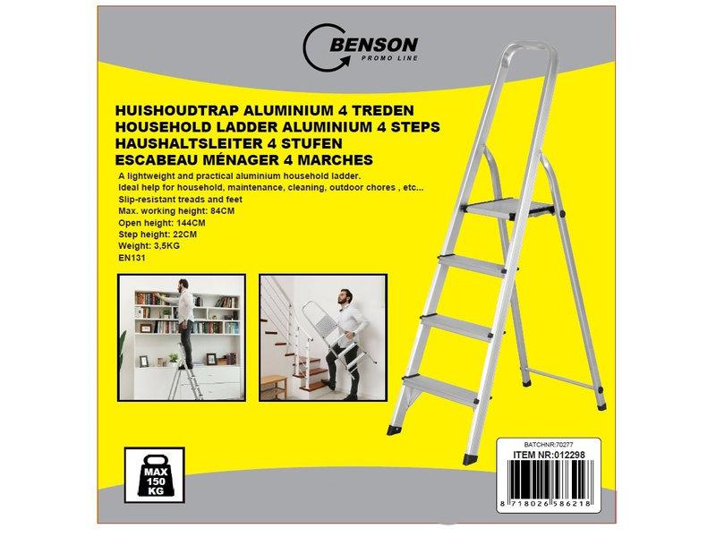 Aluminium Huishoudtrap Prof. met 4 Treden - max. 150 kg.