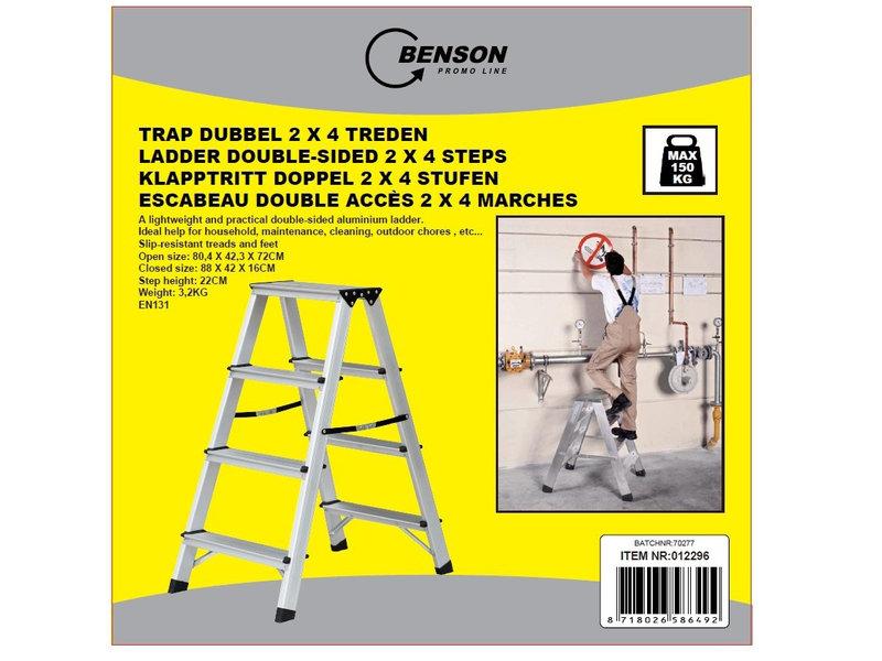 Aluminium Dubbel Trap  2 X 4 treden max. 150 kg.