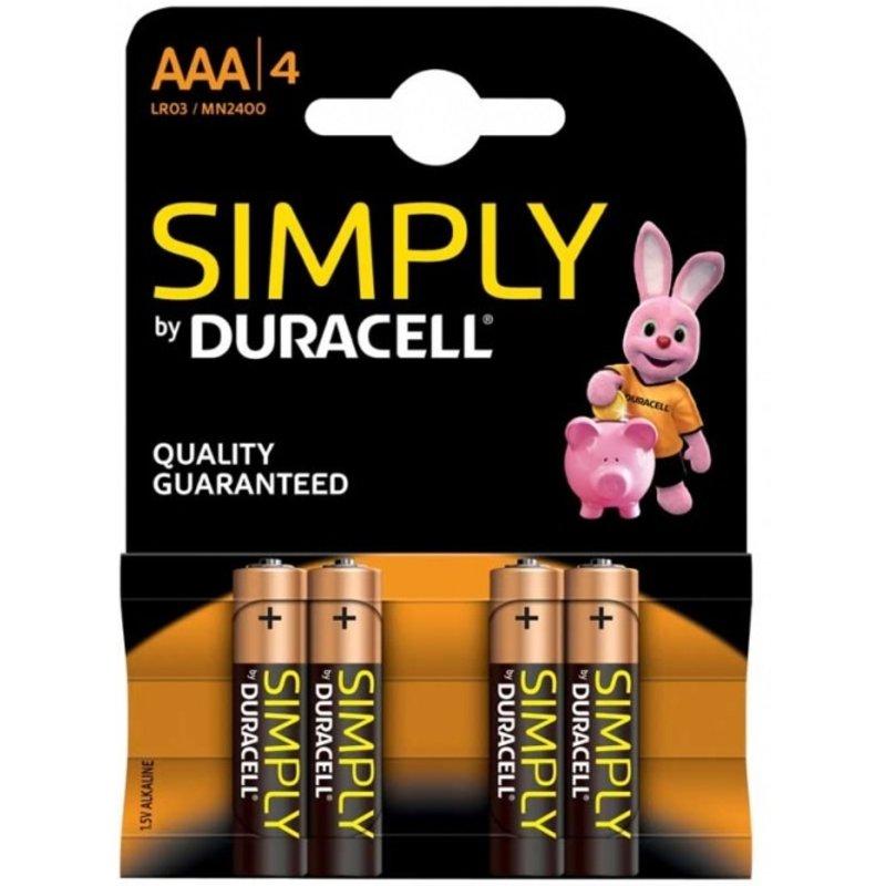 DURACELL AAA batterijen Simply  1,5V   ( 4 stuks )
