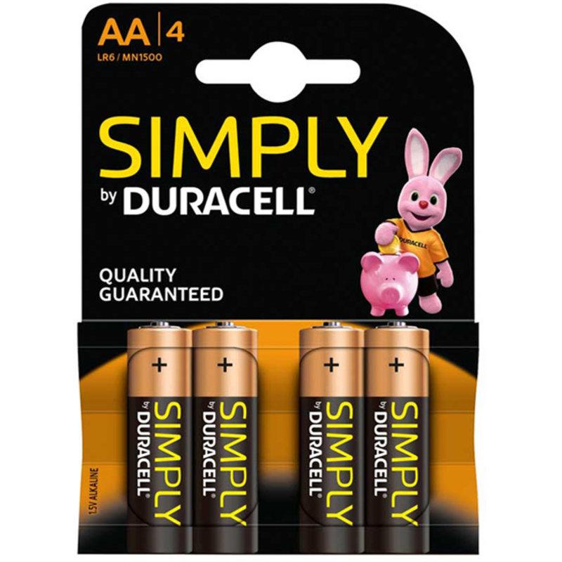 DURACELL AA batterijen Simply  1,5V   ( 4 stuks )