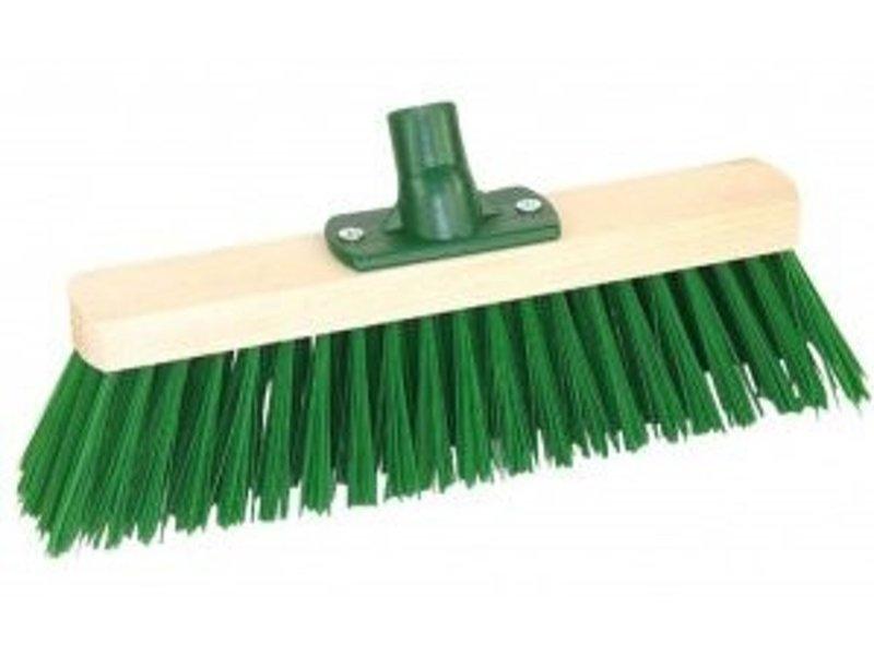 Straatbezem  pvc groen 30 cm + steel