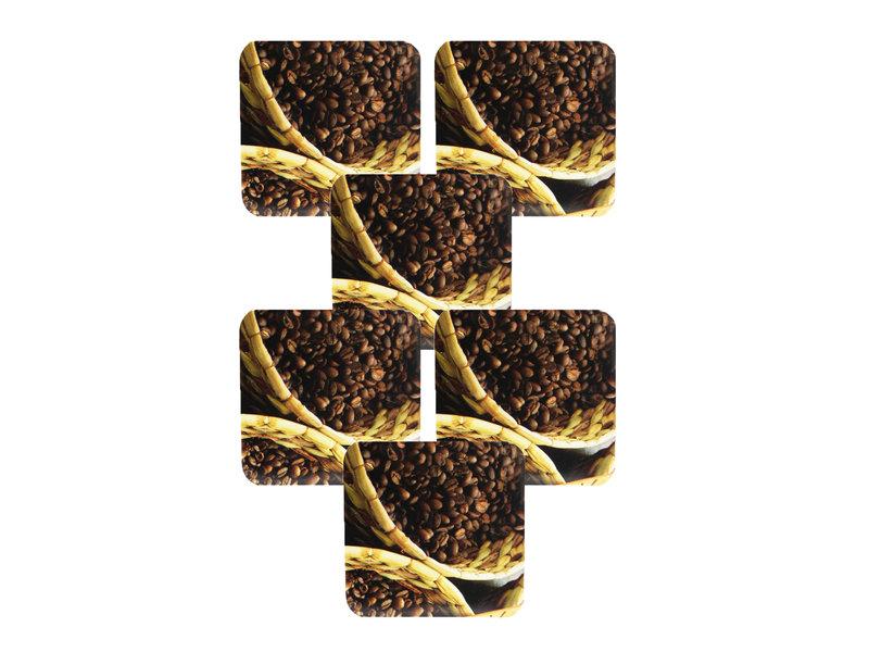 Onderzetter - set van 6 stuks - Koffiebonen