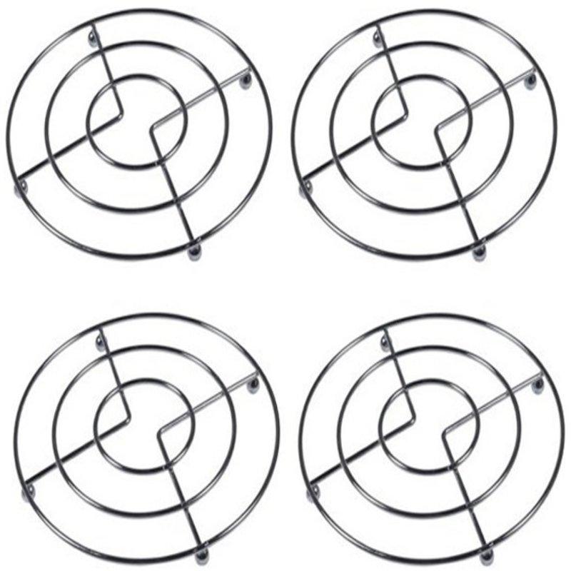 Pannenonderzetters metaal rond  Ø 20 cm.  ( set 4 stuks )