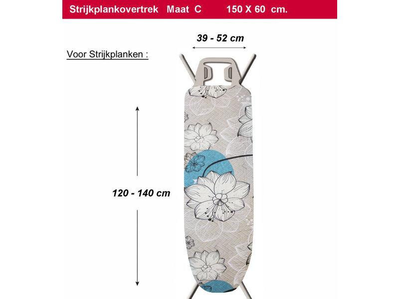Strijkplankhoes 2 laags met elastiek C - Beige  Flower