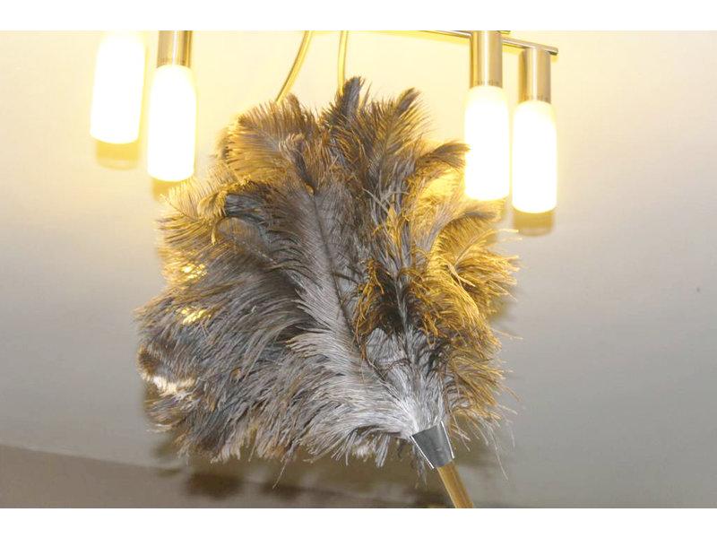Struisvogel Plumeau Extra dik  met Extra lange houten steel  110 cm