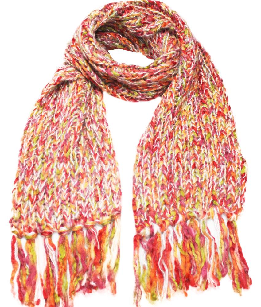 Gebreide Damessjaal Multicolor   oranje/rood