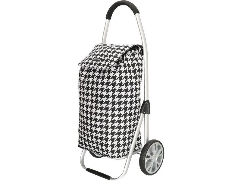 Boodschappentrolley  Zwart/Wit  48 L. Inklapbaar Aluminium