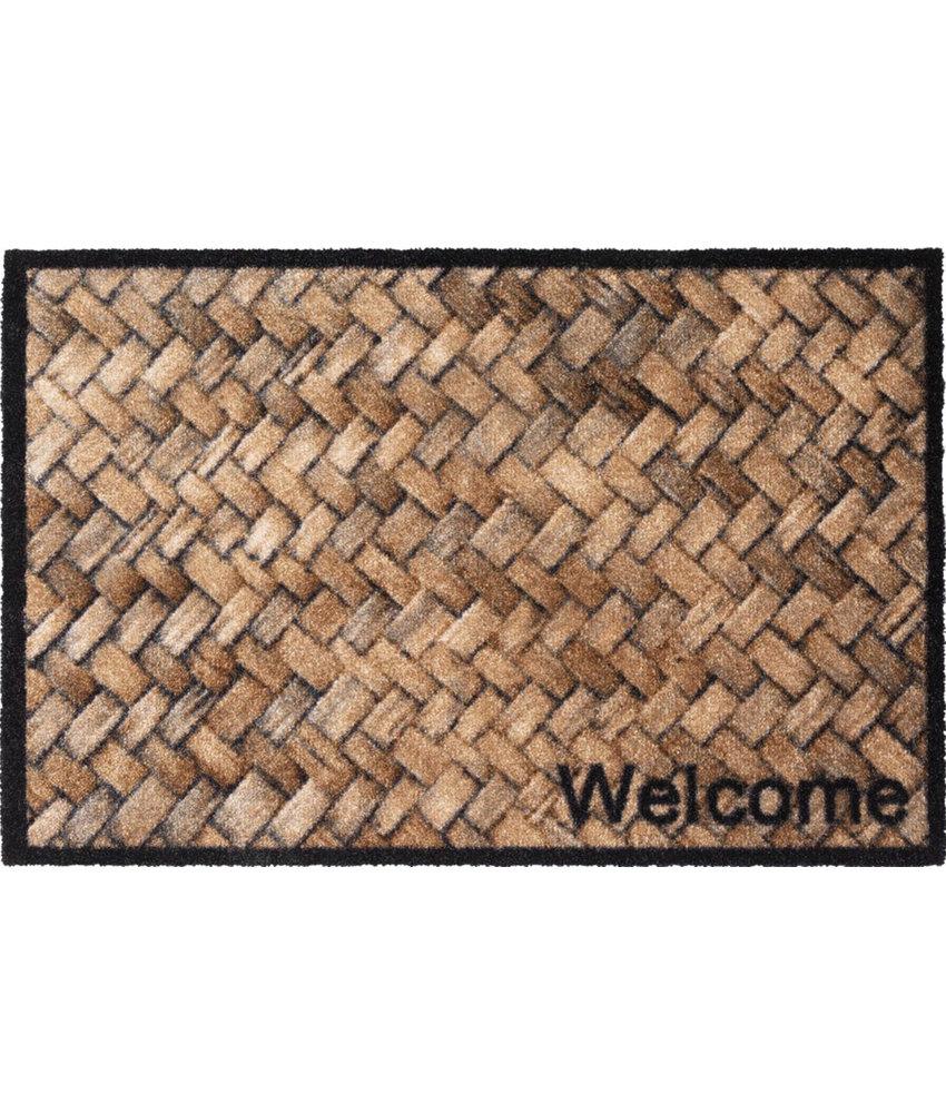 Wasbare Deurmat Welcome Wicker  50 x 75 cm.