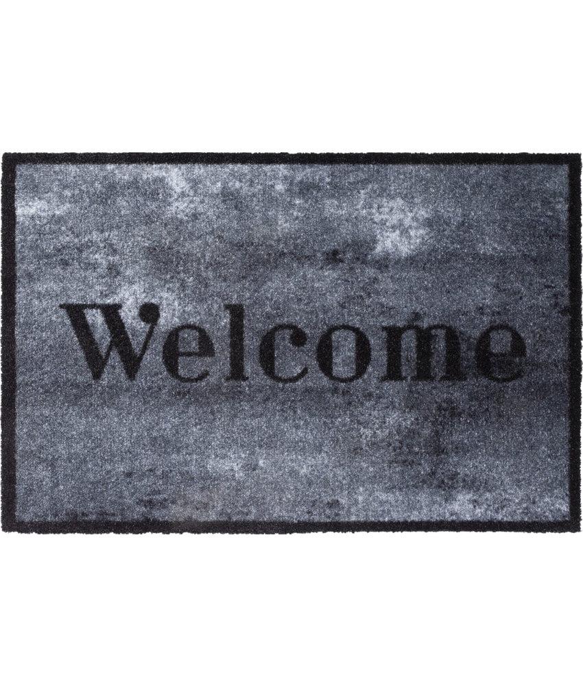 Wasbare Deurmat Welcome Concrete  50 x 75 cm.