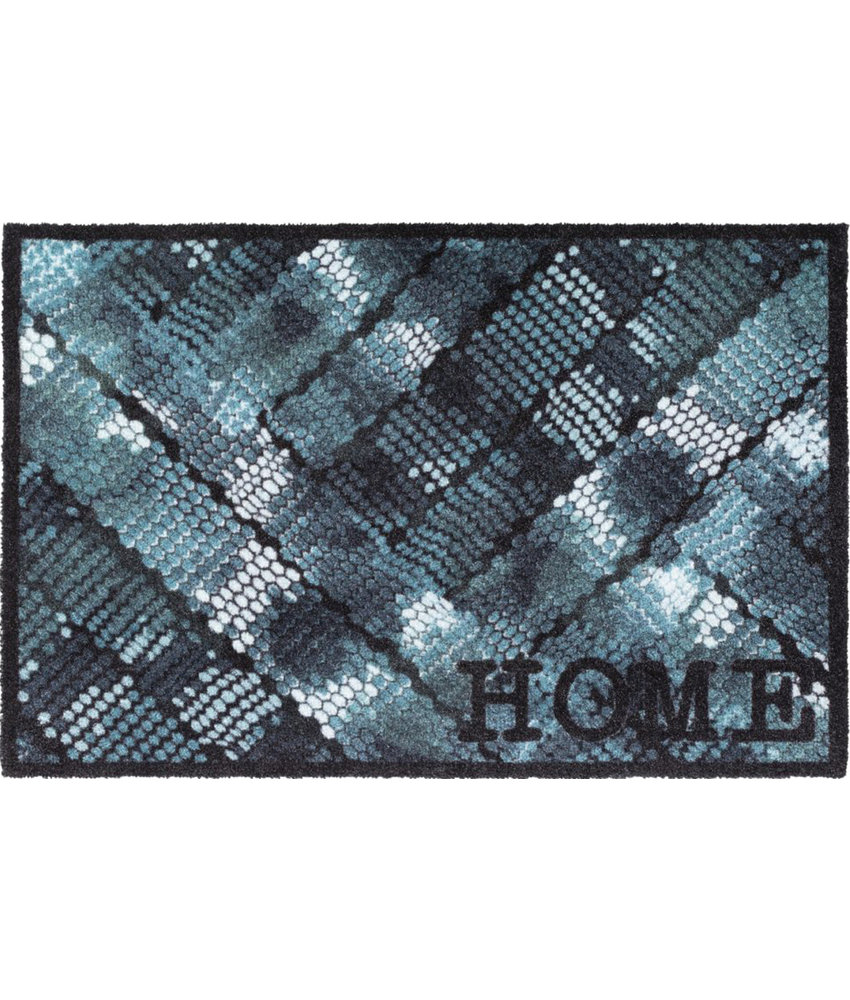 Wasbare Deurmat Home Blue Texture  50 x 75 cm.