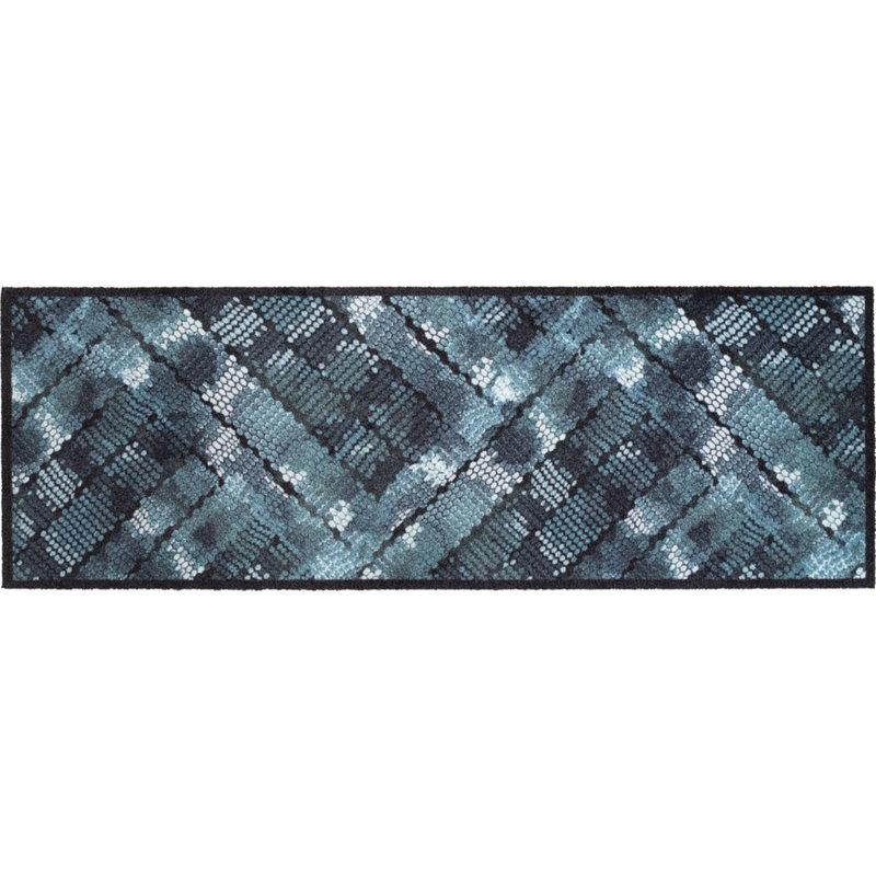 Wasbare Schoonloopmat Blue Texture  50 x 150 cm.