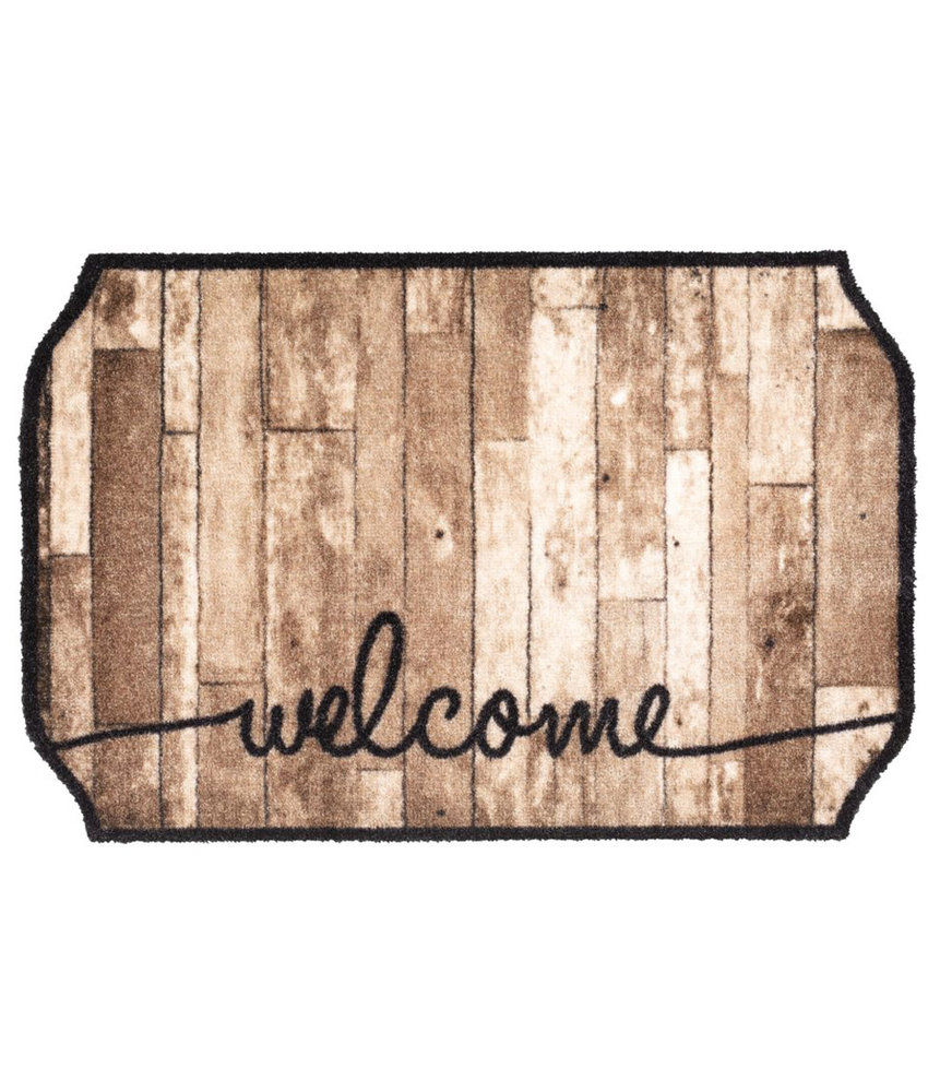 Wasbare Schoonloopmat Welcome Wood Octagon  Shape  50 x 75 cm.