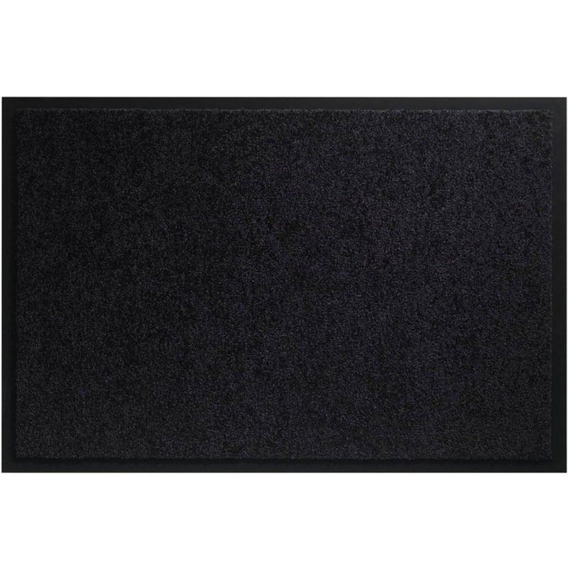 Wasbare schoonloopmat Zwart 80x120 cm.