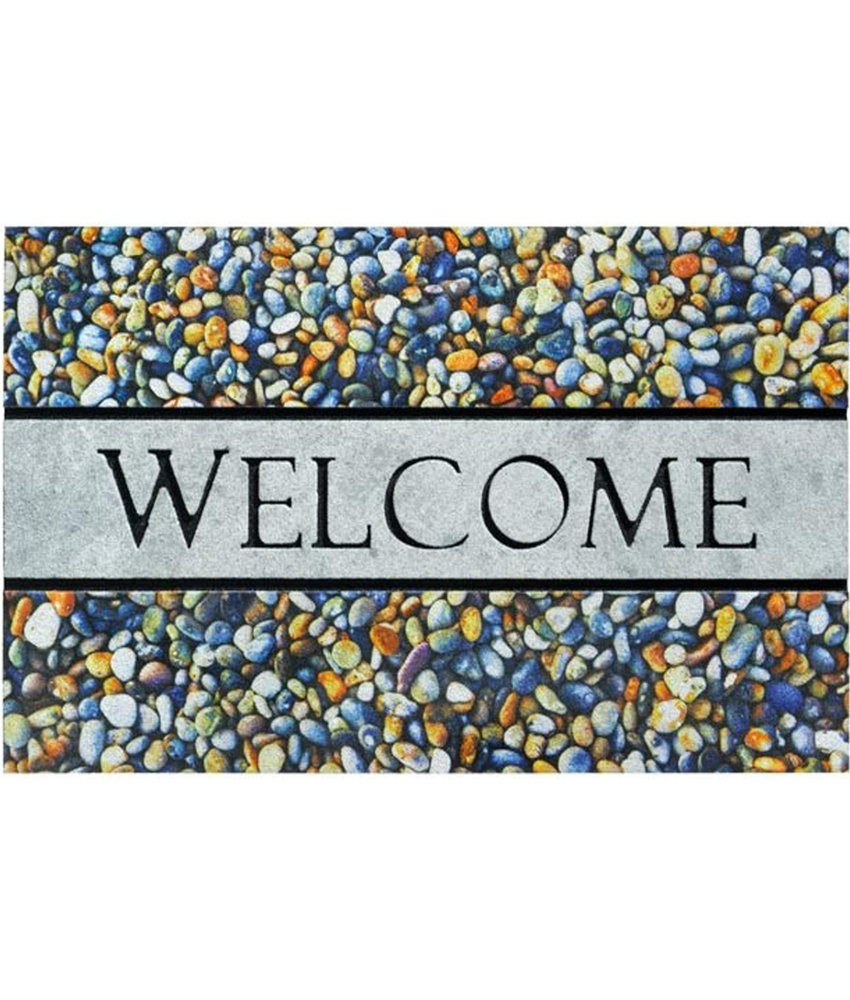 Rubber Deurmat Welcome Pebbles 45 x 75 cm.