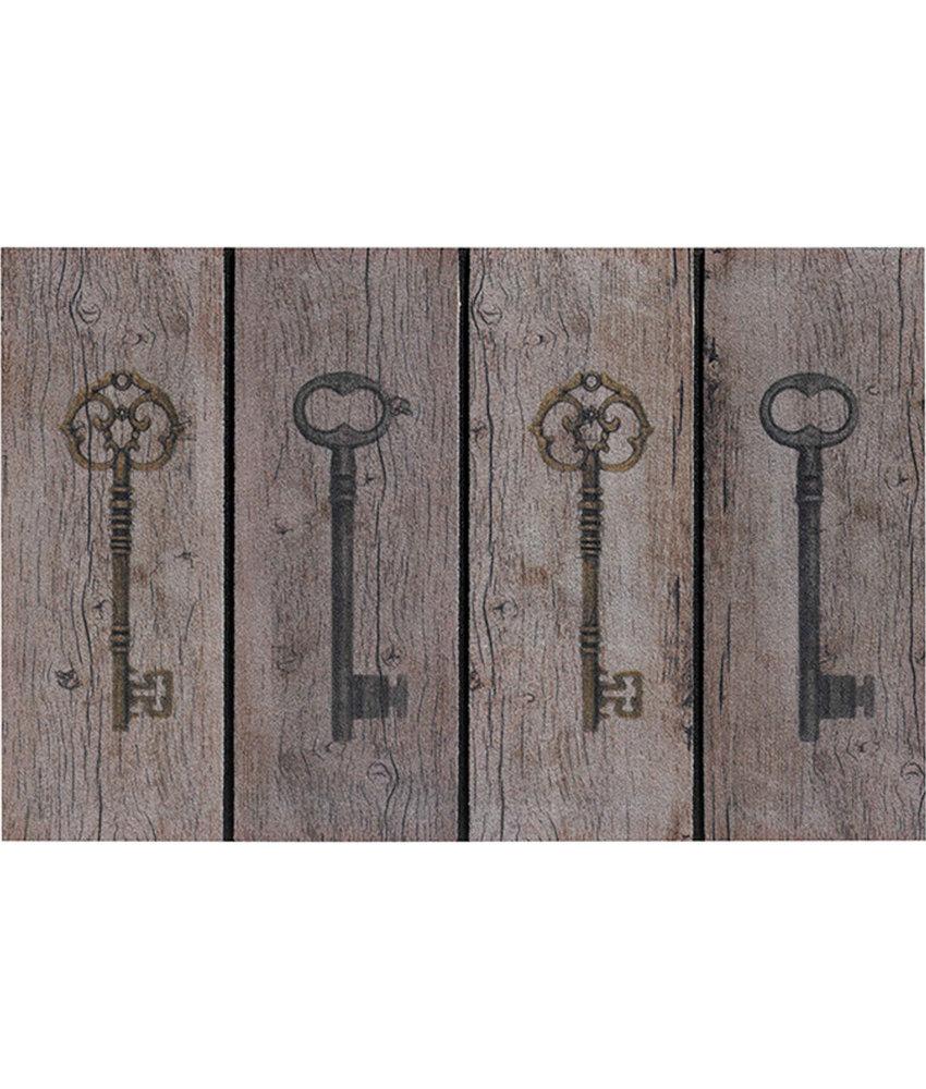 Rubber Deurmat keys  45 x 75 cm.