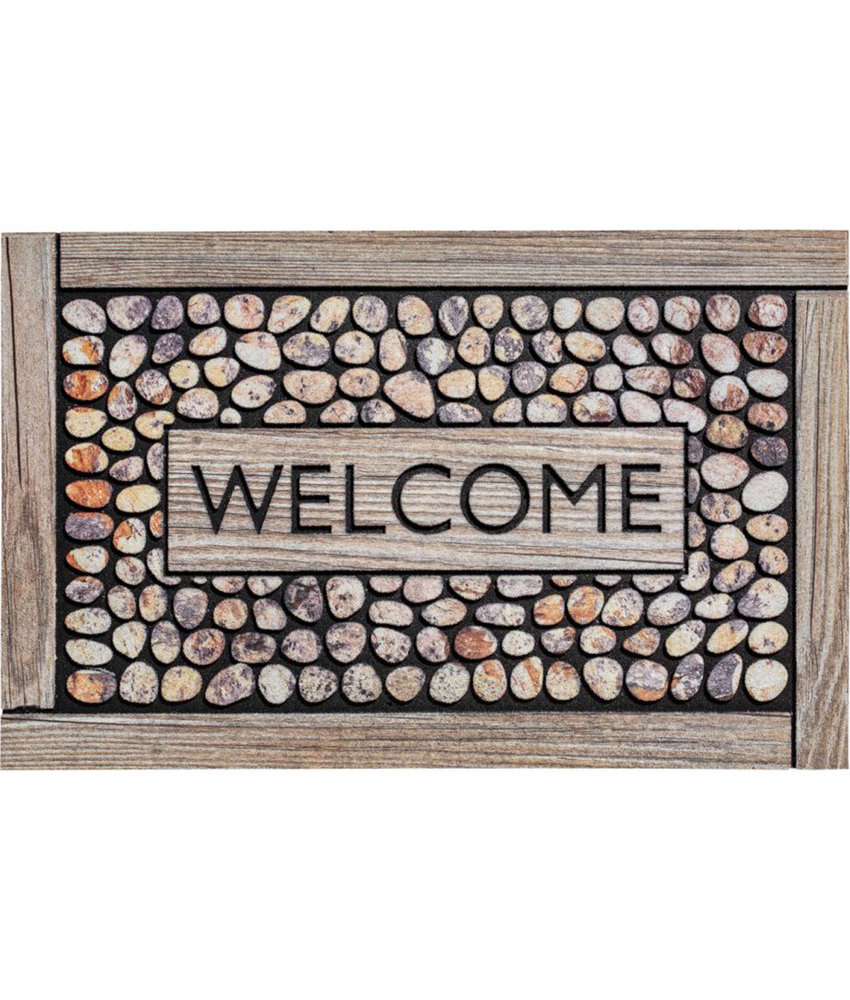 Rubber Deurmat  Welcome Framed Pebbles  45 x 75 cm.