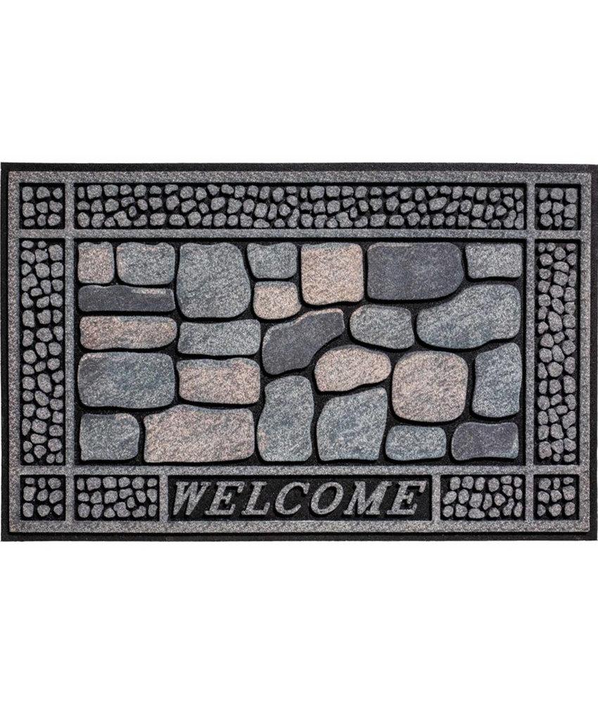 Rubber Deurmat  Stones Welcome  45 x 75 cm.