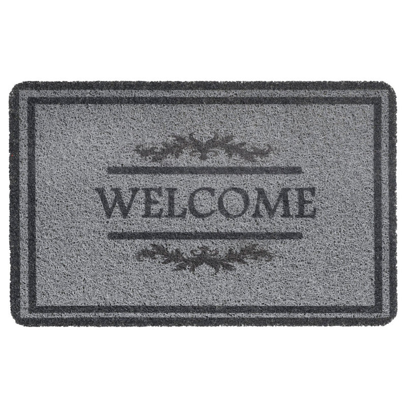 "Deurmat  Curly Print  ""Grey Welcome double border""   40 x 60 cm"