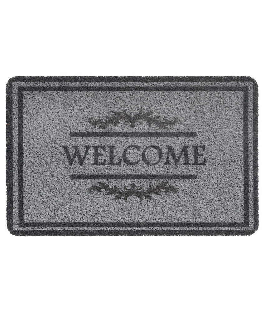"Deurmat  Curly Print  ""Grey Welcome double border""   40 x 60 cm"