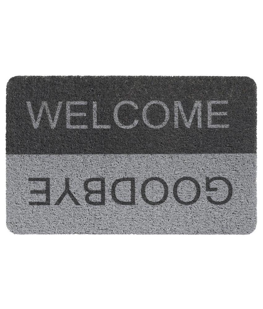 """Deurmat  Curly Print  """"Grey/Black Welcome/Goodbye""""   40 x 60 cm"""