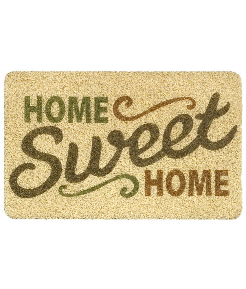 """Deurmat  Curly Print  """"Beige Home Sweet Home""""   40 x 60 cm"""