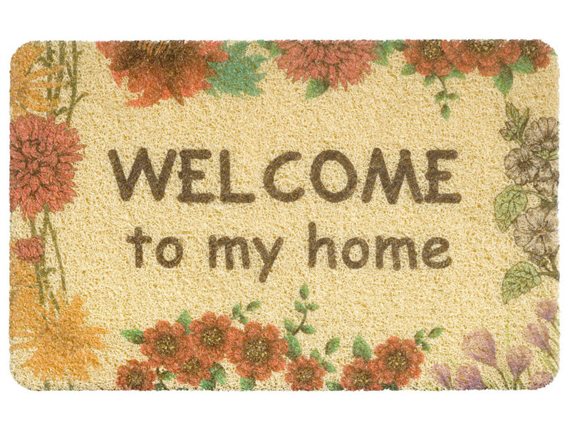 "Deurmat  Curly Print  ""Beige Welcome to my Home""   40 x 60 cm"