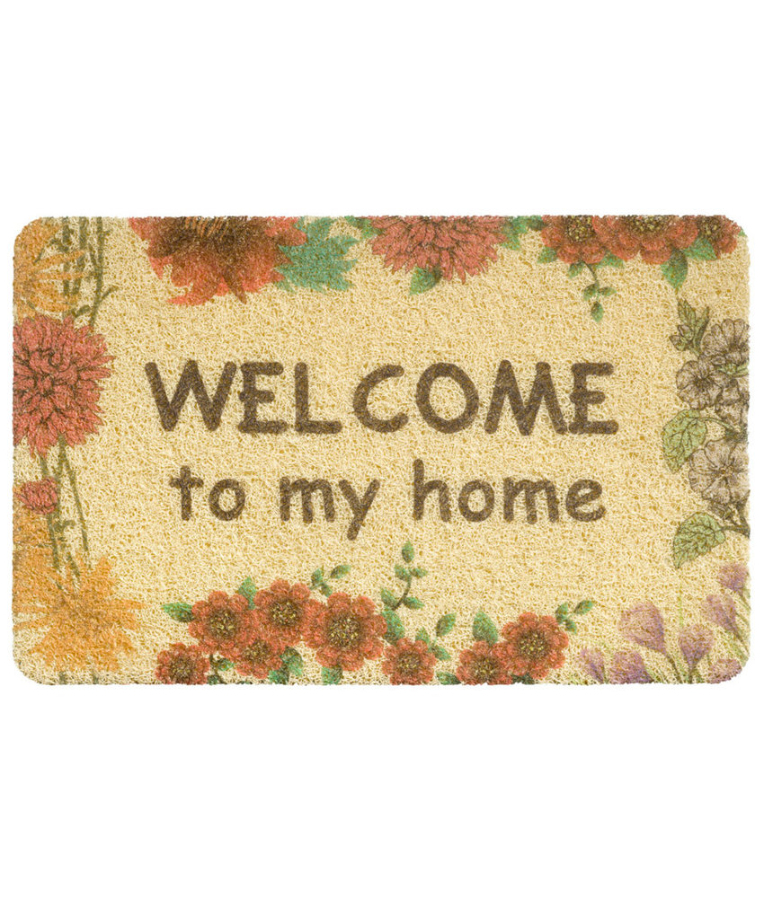 "Deurmat  Curly Print  ""Beige Welcome to my Home""   40 x 60 cm"