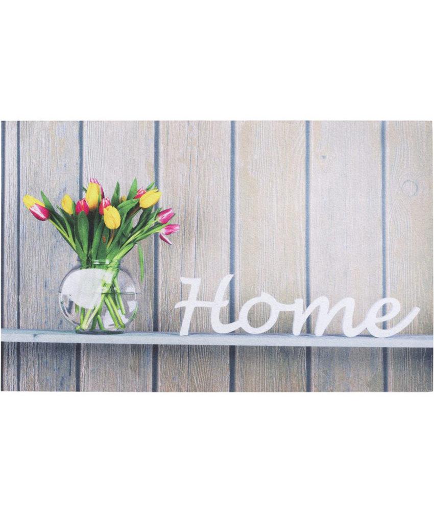 "Rubber Deurmat  Gallery ""Flowerpot Home beige""  45 x 75 cm."