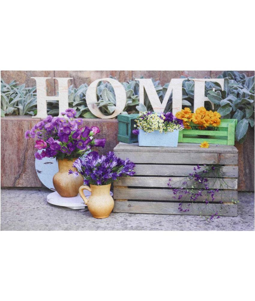 """Rubber Deurmat  Gallery """"Home Flower""""  45 x 75 cm."""