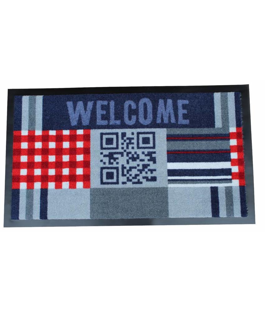 Deurmat Welcome QR code 45x75 cm.
